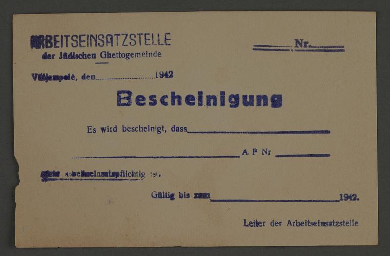 1995.89.819 front Certificate, Kovno ghetto Labor Department