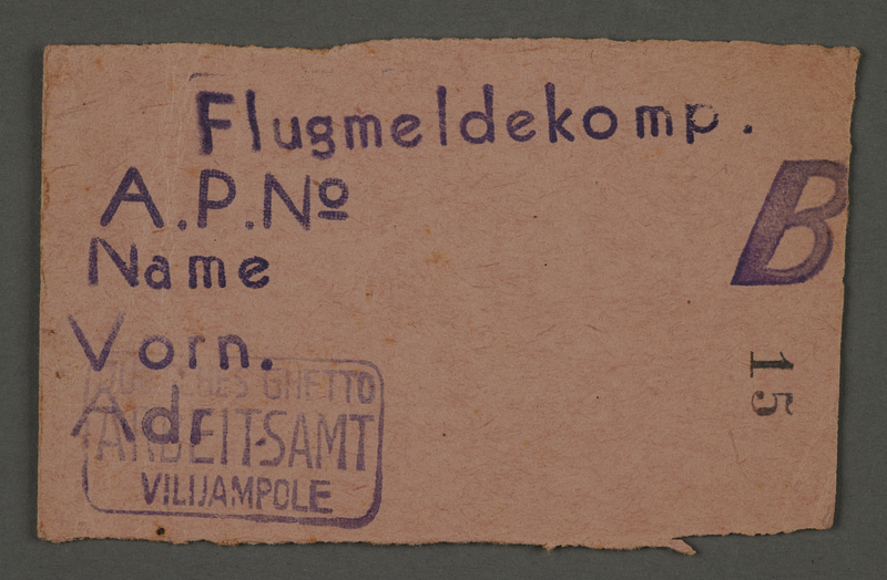 1995.89.82 front Work assignment slip from the Kovno ghetto