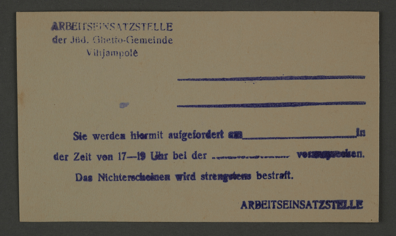 1995.89.822 front Pass issued by the Labor Department of the Kovno ghetto