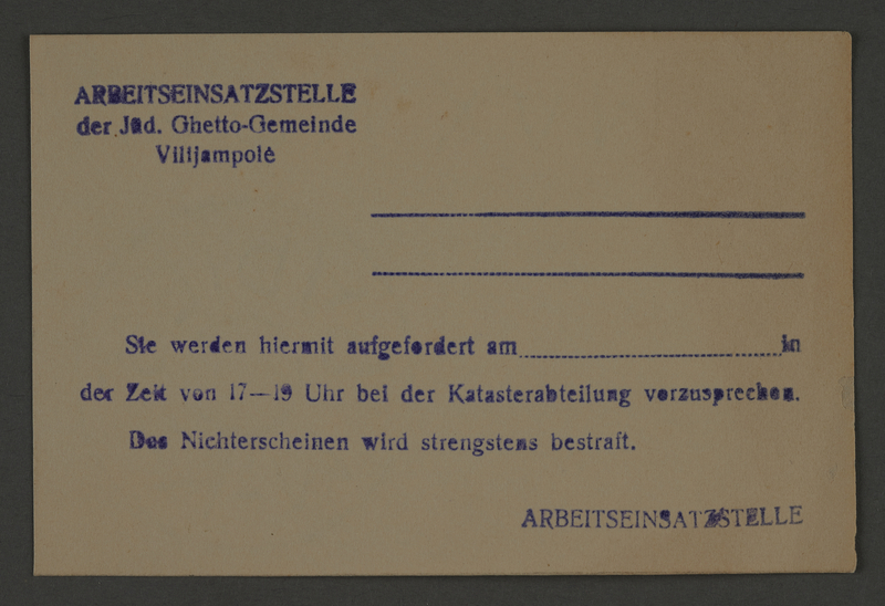 1995.89.823 front Pass issued by the Labor Department of the Kovno ghetto