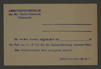 1995.89.823 front Pass issued by the Labor Department of the Kovno ghetto  Click to enlarge