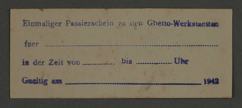 1995.89.827 front Single use permit from the Kovno ghetto workshops