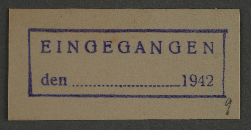 1995.89.831 front Ink stamp impression from an administrative department of the Kovno ghetto