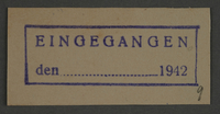 1995.89.831 front Ink stamp impression from an administrative department of the Kovno ghetto  Click to enlarge