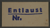 1995.89.832 front Ink stamp impression from an administrative department of the Kovno ghetto  Click to enlarge