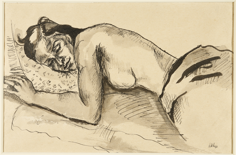 1988.1.41 front Drawing of a sleeping seminude woman by a German Jewish internee