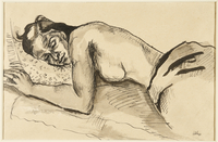 1988.1.41 front Drawing of a sleeping seminude woman by a German Jewish internee  Click to enlarge