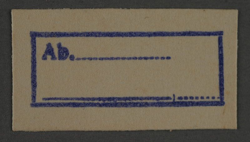 1995.89.835 front Ink stamp impression from an administrative department of the Kovno ghetto