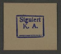 1995.89.837 front Ink stamp impression from an administrative department of the Kovno ghetto  Click to enlarge