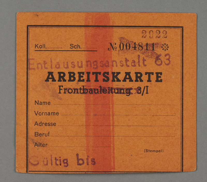 1995.89.84 front Work assignment slip from the Kovno ghetto
