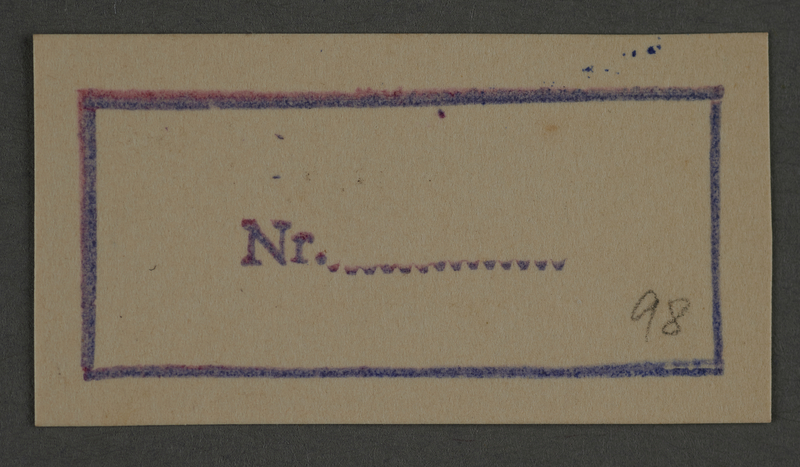 1995.89.840 front Ink stamp impression from an administrative department of the Kovno ghetto
