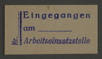 1995.89.841 front Labor Department stamp impression from the Kovno ghetto  Click to enlarge