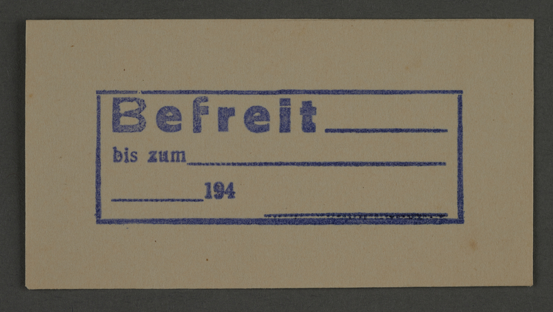 1995.89.842 front Ink stamp impression from an administrative department of the Kovno ghetto