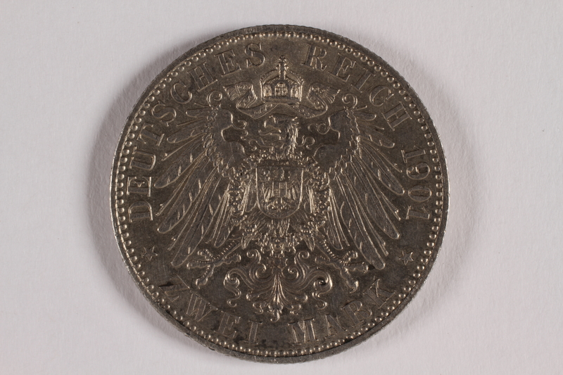 2014.472.2 back Kingdom of Prussia, 2 mark commemorative coin acquired by a US soldier