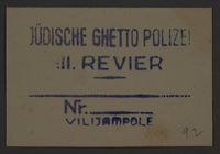 1995.89.844 front Ink stamp impression of the Jewish Ghetto Police of the Kovno ghetto  Click to enlarge