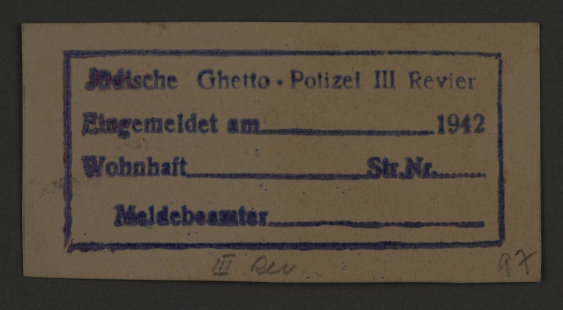 1995.89.848 front Ink stamp impression permit of the Jewish Ghetto Police, Precinct 3, of the Kovno ghetto