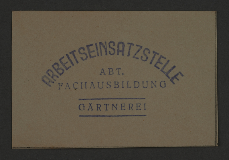 1995.89.863 front Economy department's stamp impression for Garden Guards in the Kovno ghetto