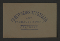 1995.89.863 front Economy department's stamp impression for Garden Guards in the Kovno ghetto  Click to enlarge
