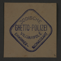 1995.89.865 front Ink stamp impression of the Jewish Ghetto Police in Kovno, Lithuania  Click to enlarge