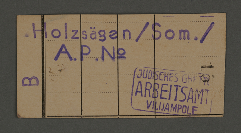 1995.89.87 front Work assignment slip from the Kovno ghetto