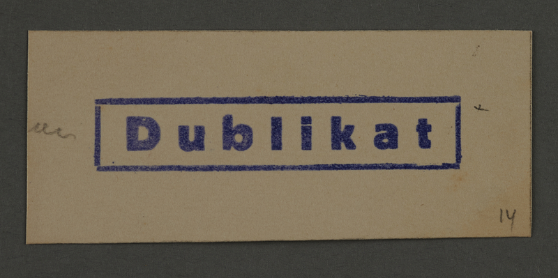 1995.89.879 front Ink stamp impression from an administrative department of the Kovno ghetto