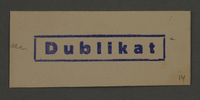 1995.89.879 front Ink stamp impression from an administrative department of the Kovno ghetto  Click to enlarge