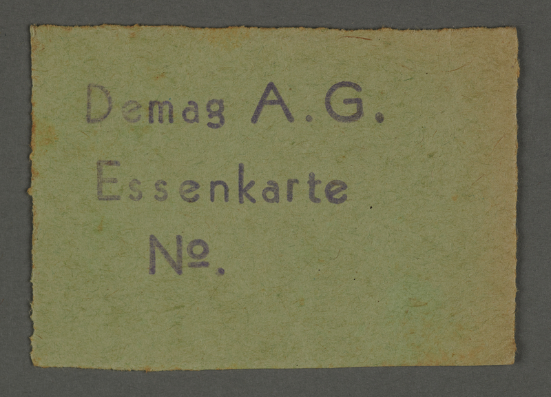 1995.89.88 front Meal card from the Kovno ghetto