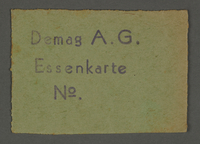 1995.89.88 front Meal card from the Kovno ghetto  Click to enlarge