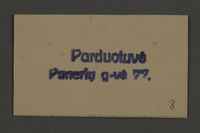 1995.89.881 front Ink stamp impression from an administrative department of the Kovno ghetto  Click to enlarge