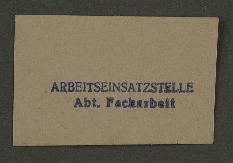 1995.89.882 front Skilled workers department stamp impression from the Kovno ghetto