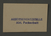 1995.89.882 front Skilled workers department stamp impression from the Kovno ghetto  Click to enlarge