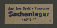 1995.89.883 front Ink stamp impression of Social Services office warehouse for property in the Kovno ghetto  Click to enlarge