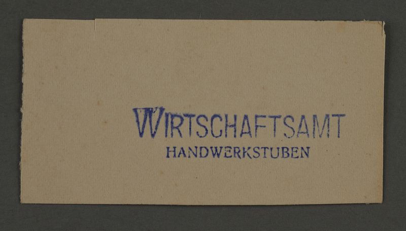 1995.89.884 front Ink stamp impression from an administrative department of the Kovno ghetto