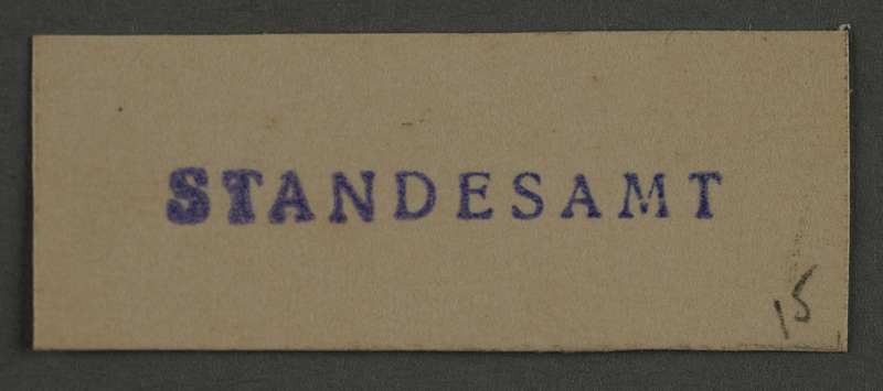 1995.89.891 front Ink stamp impression from an administrative department of the Kovno ghetto