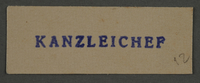 1995.89.892 front Ink stamp impression from an administrative department of the Kovno ghetto  Click to enlarge