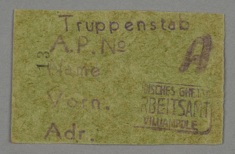 1995.89.91 front Work assignment slip from the Kovno ghetto