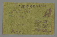 1995.89.91 front Work assignment slip from the Kovno ghetto  Click to enlarge