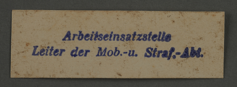 1995.89.910 front Labor Department stamp impression from the Kovno ghetto