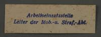 1995.89.910 front Labor Department stamp impression from the Kovno ghetto  Click to enlarge