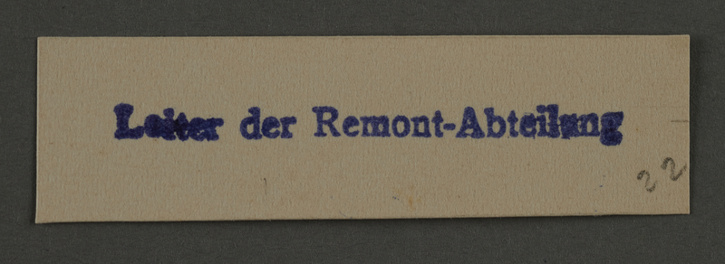 1995.89.912 front Ink stamp impression from an administrative department of the Kovno ghetto