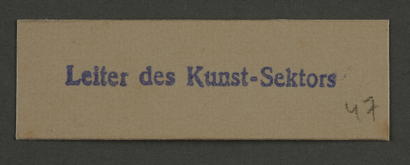 1995.89.916 front Ink stamp impression from an administrative department of the Kovno ghetto