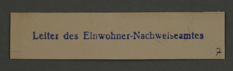 1995.89.918 front Ink stamp impression from an administrative department of the Kovno ghetto