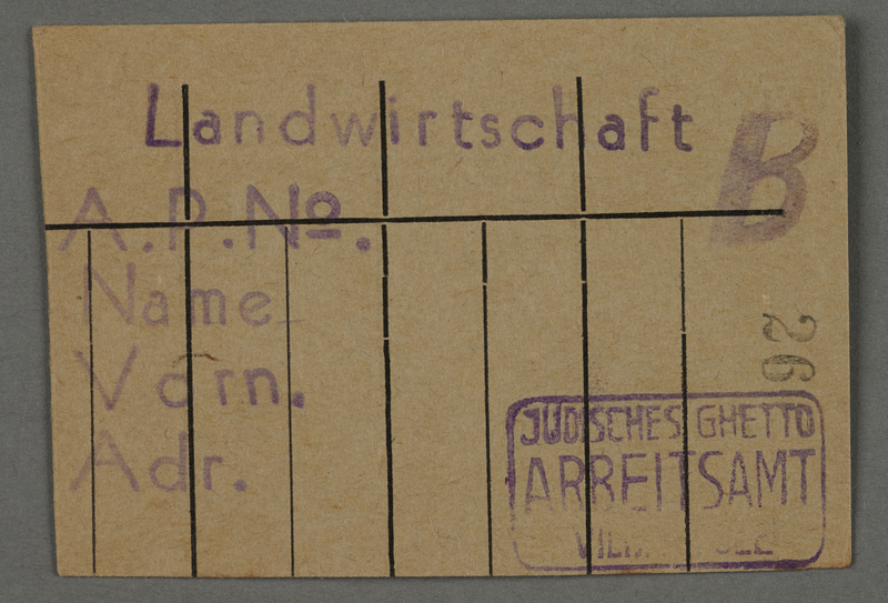 1995.89.92 front Work assignment slip from the Kovno ghetto