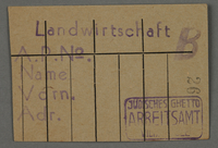 1995.89.92 front Work assignment slip from the Kovno ghetto  Click to enlarge