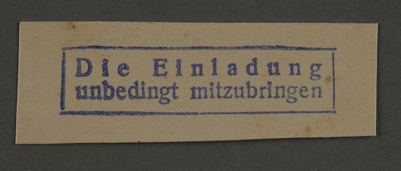 1995.89.921 front Ink stamp impression from an administrative department of the Kovno ghetto