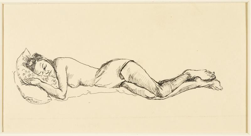 1988.1.42 front Drawing of a sleeping seminude woman sleeping on her side by a German Jewish internee