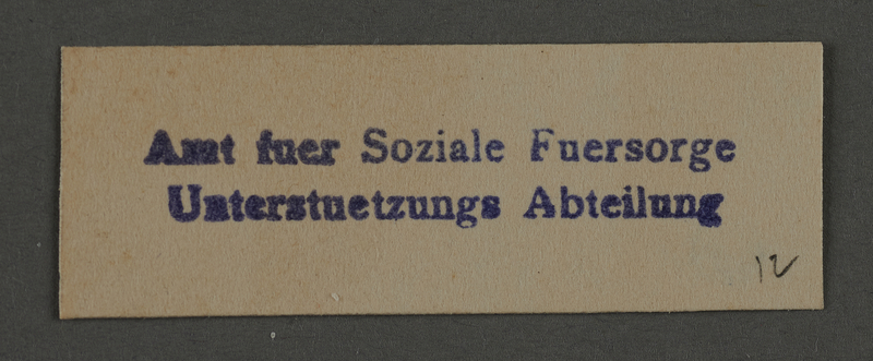 1995.89.927 front Ink stamp impression of Welfare department in the Kovno ghetto