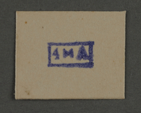 1995.89.933 front Ink stamp impression from an administrative department of the Kovno ghetto  Click to enlarge