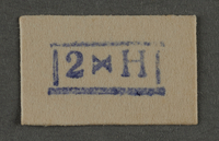 1995.89.937 front Ink stamp impression from an administrative department of the Kovno ghetto  Click to enlarge
