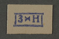 1995.89.938 front Ink stamp impression from an administrative department of the Kovno ghetto  Click to enlarge